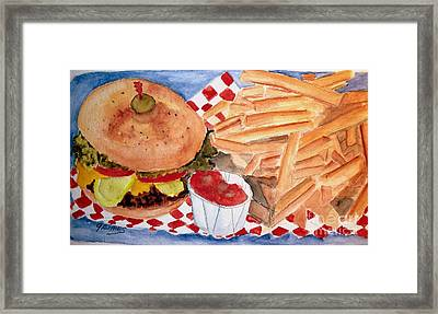Hamburger Plate With Fries Framed Print