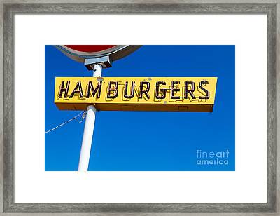 Hamburgers Old Neon Sign Framed Print