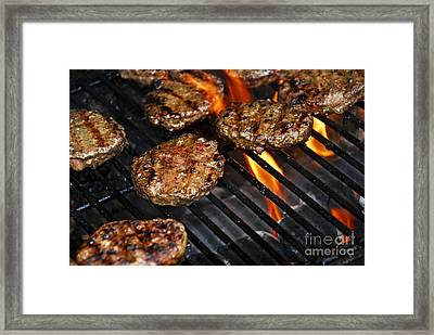 Hamburgers On Barbeque Framed Print by Elena Elisseeva