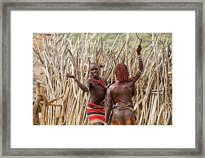 Hamer Man With Reed Whip Framed Print by Photostock-israel