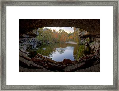 Hamilton Pool Autumn Colors - Texas Hill Country Framed Print by Rob Greebon
