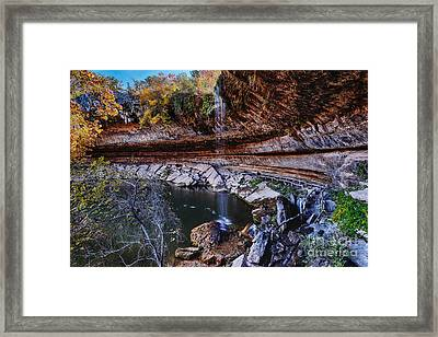 Hamilton Pool In The Fall - Texas Hill Country Framed Print by Silvio Ligutti