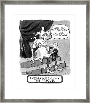 Hamlet And Yorick The Prequel Framed Print by Edward Frascino