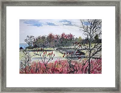 Hamlin Ontario Plein Aire Framed Print by Judy Via-Wolff