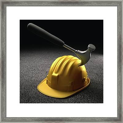 Hammer Hitting A Hard Hat Framed Print