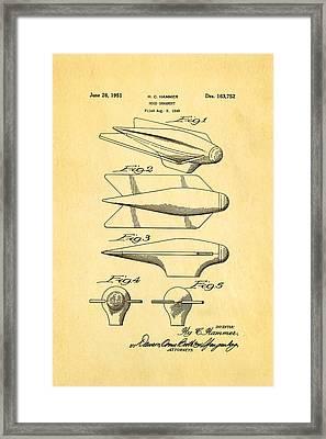 Hammer Hood Ornament Patent Art 1951 Framed Print by Ian Monk