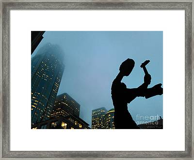 Framed Print featuring the photograph Hammering Man Seattle by Susan Parish