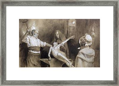 Hammering The Spleen Framed Print