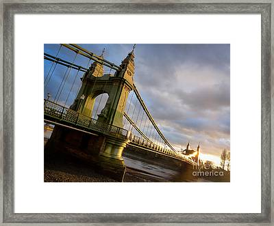 Framed Print featuring the photograph Hammersmith Bridge In London by Peta Thames