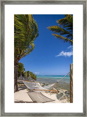 Hammock On The Beach British Virgin Islands Framed Print by Adam Romanowicz