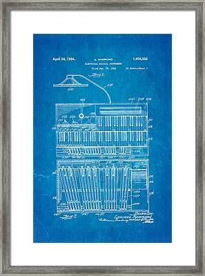 Hammond Organ Patent Art 1934 Blueprint Framed Print by Ian Monk