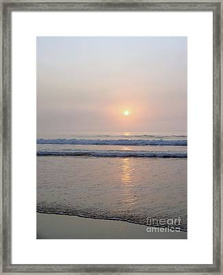 Hampton Beach Waves And Sunrise Framed Print by Eunice Miller