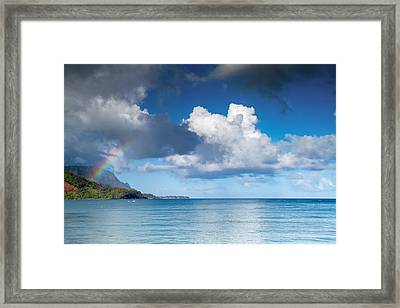 Hanalei Bay And Rainbow Framed Print