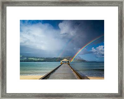 Hanalei Bay Pier And Double Rainbow Framed Print by Roger Mullenhour