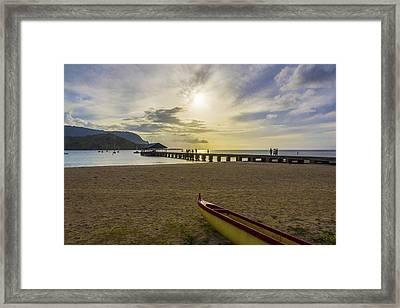Hanalei Bay Pier Outrigger Canoe Sunset - Kauai Hawaii Framed Print