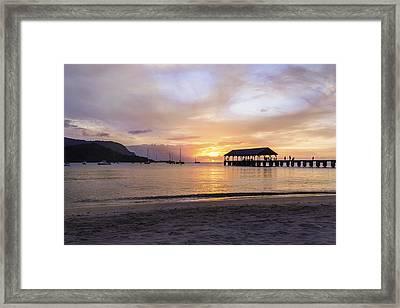 Hanalei Bay Pier Sunset 3 - Kauai Hawaii Framed Print by Brian Harig