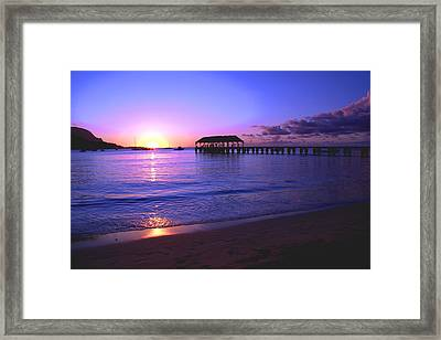 Hanalei Bay Pier Sunset Framed Print by Brian Harig