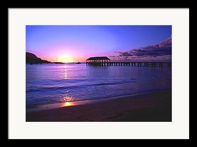 Hanalei Pier Sunset Framed Prints