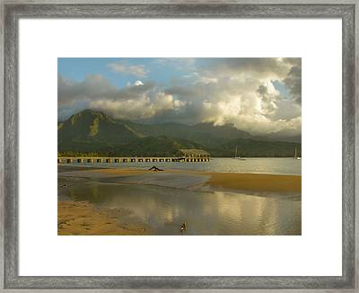 Hanalei Bay Reflections - Kauai Framed Print by Stephen  Vecchiotti