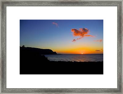 Hanalei Bay Sunset Framed Print by John  Greaves