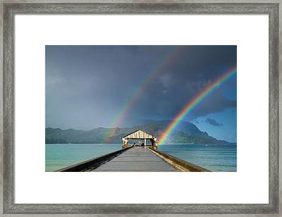 Hanalei Pier And Double Rainbow Framed Print by Roger Mullenhour