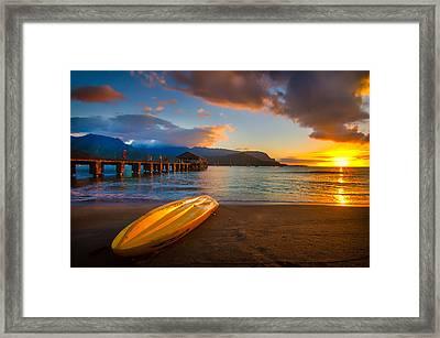 Hanalei Pier In Kauai At Sunset Framed Print