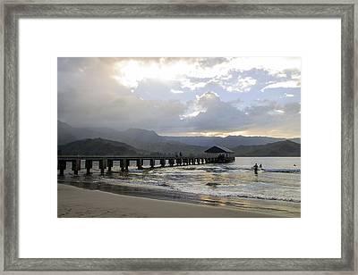 Hanalei Pier Misting Rain Framed Print