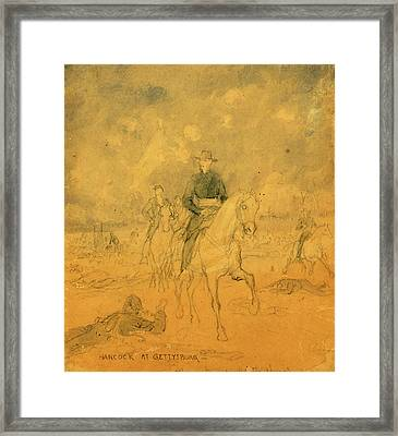 Hancock At Gettysburg, 1863 July 1-3, Drawing, 1862-1865 Framed Print by Quint Lox