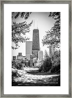 Hancock Building Through Trees Black And White Photo Framed Print by Paul Velgos