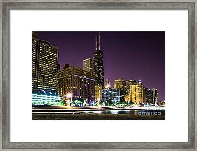 Hancock Building With Dusk Chicago Skyline Framed Print by Paul Velgos