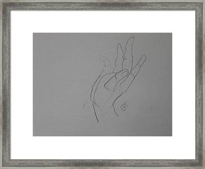 Framed Print featuring the drawing Hand by AJ Brown