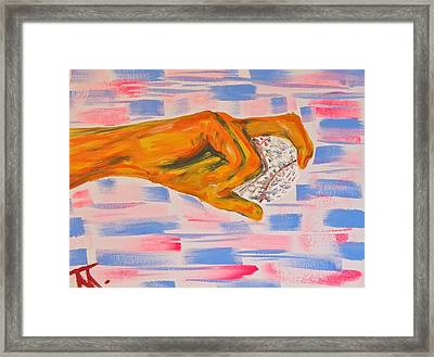 Hand And Baseball Framed Print by Troy Thomas
