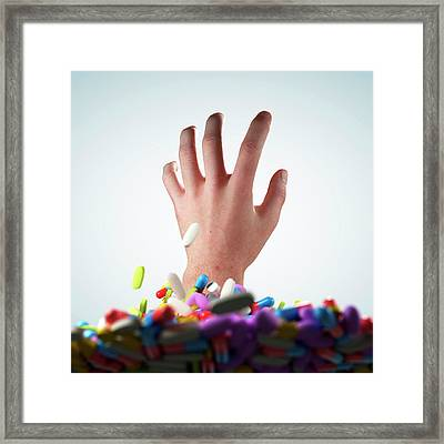 Hand And Pills And Tablets Framed Print by Sebastian Kaulitzki