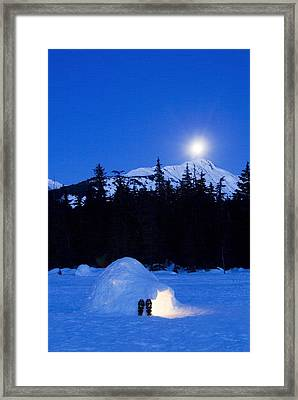 Hand Built Igloo In Moonlight Lit Up Framed Print by Randy Brandon