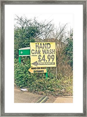 Hand Car Wash Framed Print by Tom Gowanlock