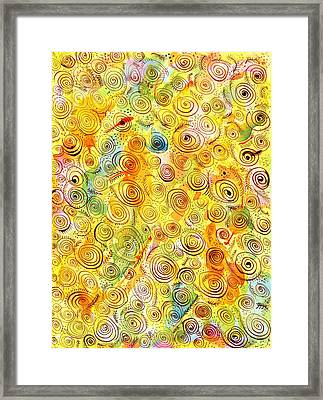 Hand-drawn Abstract Background With Spirals On Yellow Green Pink Framed Print by Ion vincent DAnu