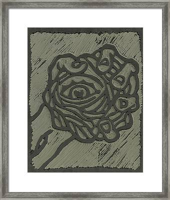 Hand Eye Coordination Linoleum Block Carving Framed Print by Shawn Vincelette
