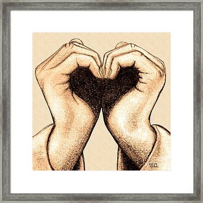 Framed Print featuring the digital art Hand Heart by Jaison Cianelli