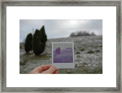Hand Holding Polaroid - Concept Image For Memory Or Time Or Past Framed Print
