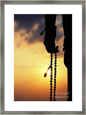 Hand Holding Rudraksha Beads Framed Print by Tim Gainey