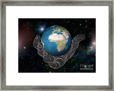 Hand Holding The Earth Framed Print by Scott Camazine