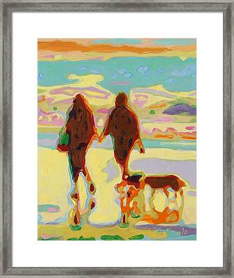 Hand In Hand On Beach With Two Dogs Oil Painting Bertram Poole Framed Print by Thomas Bertram POOLE