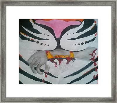 Hand In Mouth Framed Print by Kendya Battle