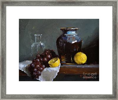 Hand-made Pottery With Fruits Framed Print