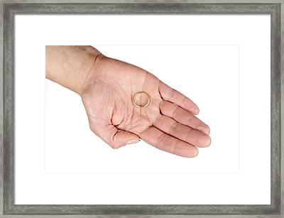 Hand Of A Woman With Wedding Ring Framed Print by Matthias Hauser
