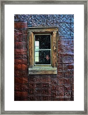 Hand On Old Window Framed Print by Jill Battaglia