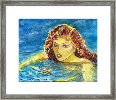 Hand Painted Art Adult Female Swimmer Framed Print by Lenora  De Lude
