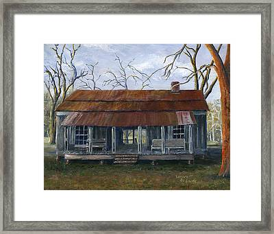 Hand Painted Art Dogtrot House In Pleasant Hill Louisiana Framed Print by Lenora  De Lude