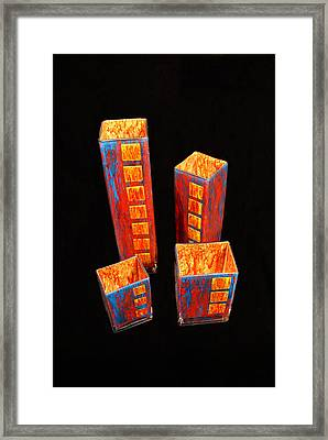 Hand Painted Glass Set Of Four Reds Framed Print
