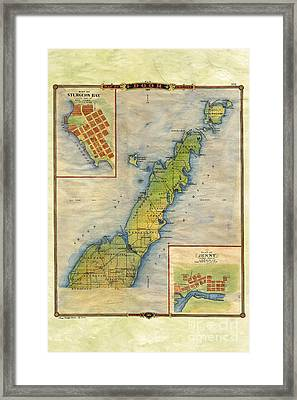 Hand Painted Map Of Door County  Framed Print